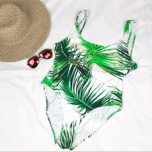 Bh67 Coral tropics one piece palm tree graphic
